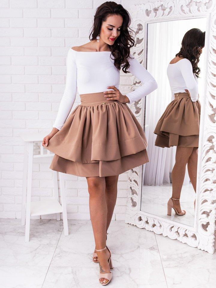 Béžová krátka elegantná sukňa