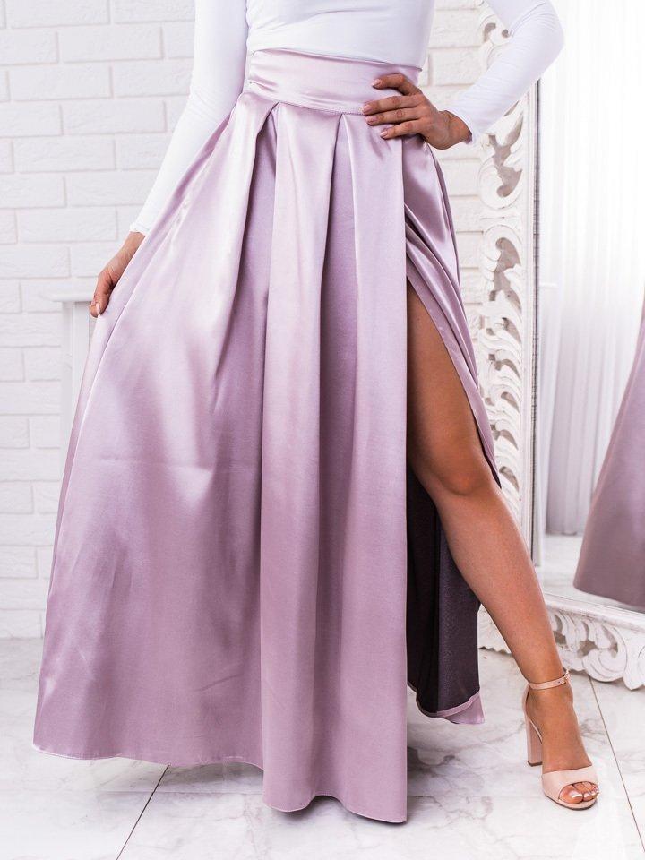 Bledofialová dlhá elegantná saténová sukňa s rozparkom