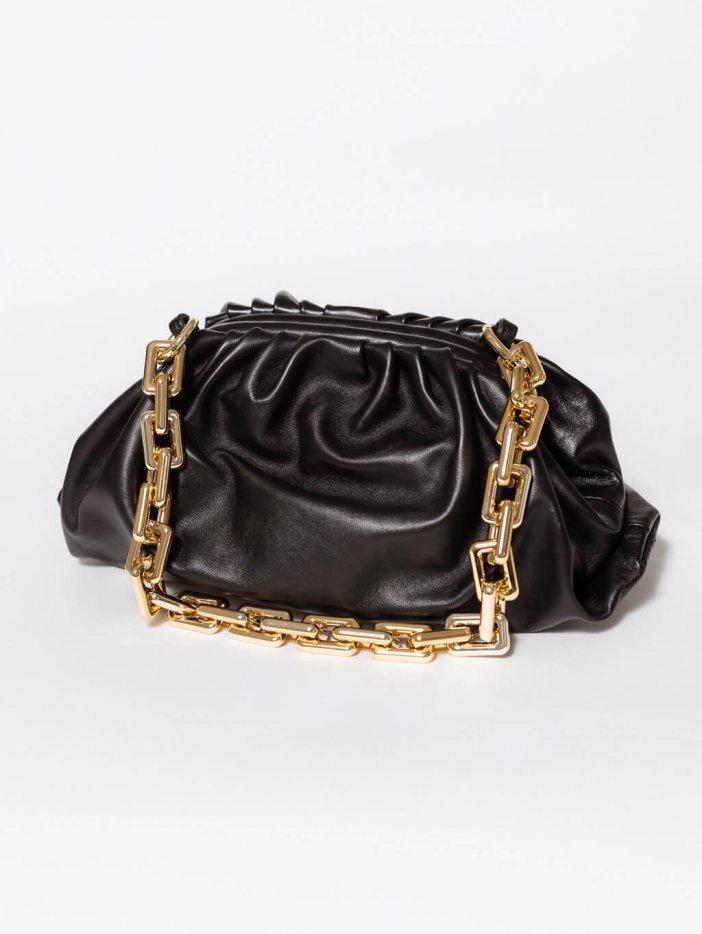 Čierna kožená kabelka Zanna