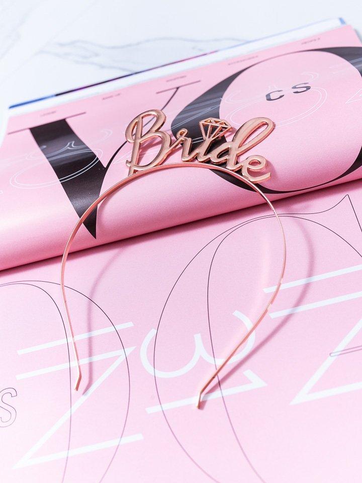 Ružovo-zlatá čelenka do vlasov Bride