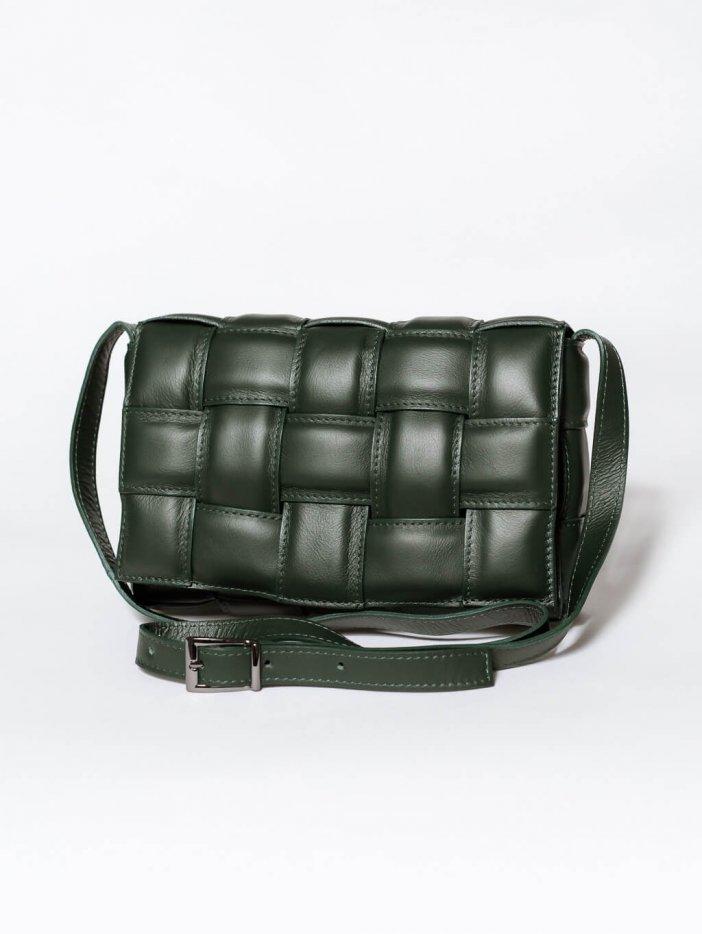 Zelená kožená kabelka Dilara