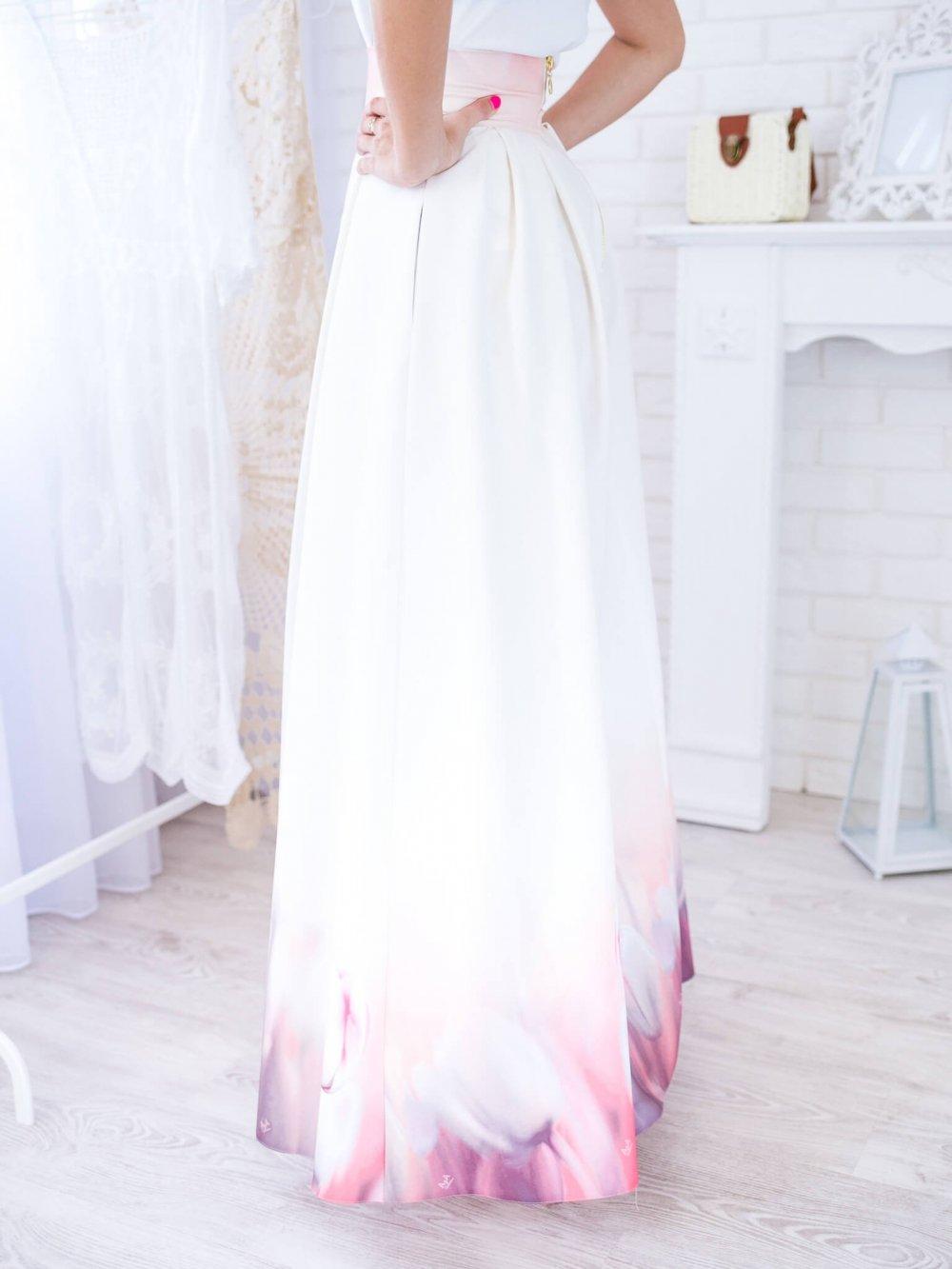Béžová dlhá elegantná sukňa s tulipánmi