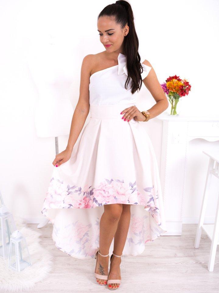 Biela asymetrická elegantná sukňa s ružovými kvetmi