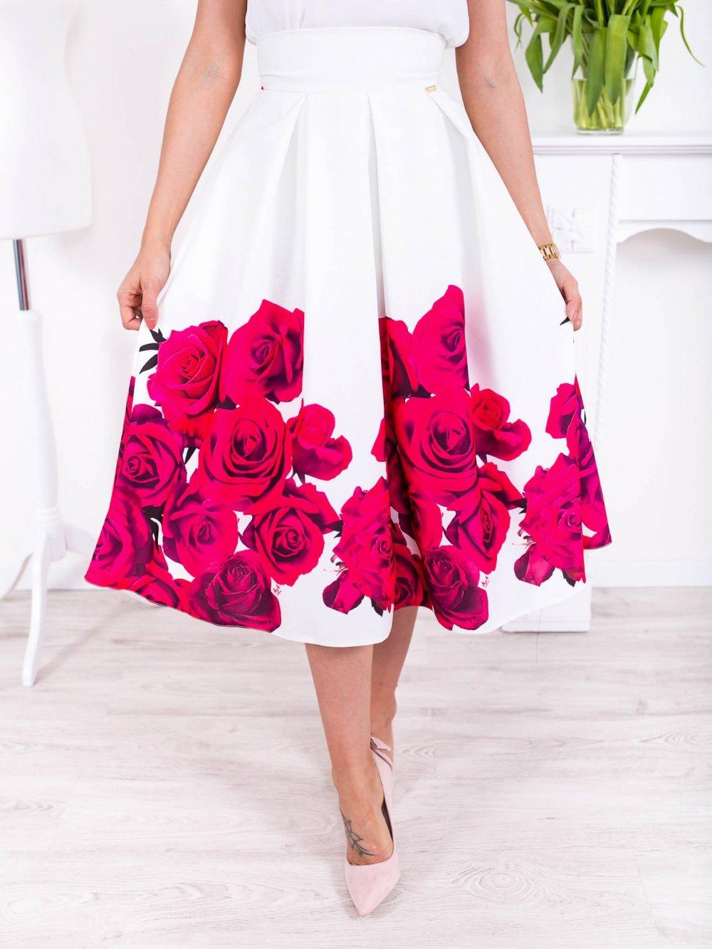 Biela midi elegantná sukňa s ružovými kvetmi