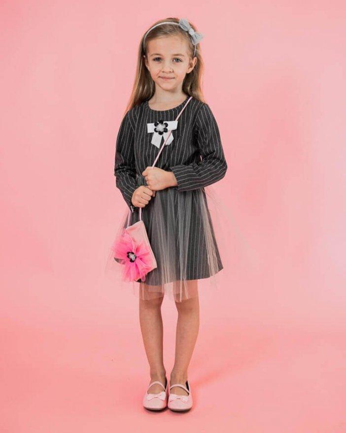 Pásikové detské šaty s kabelkou