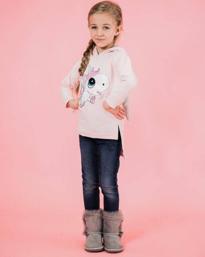 Ružová detská mikina jednorožec