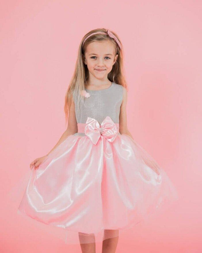 Ružové detské elegantné šaty s mašľou