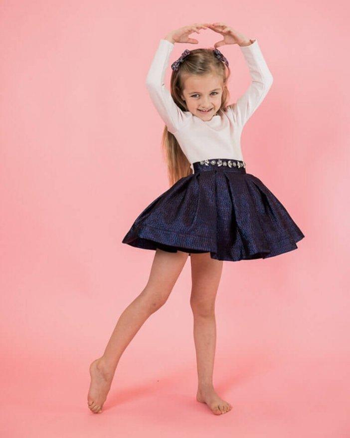 Ružovo-modré detské elegantné šaty s kamienkami