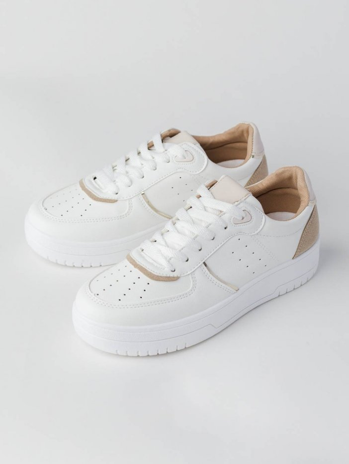 Bielo-hnedé tenisky Tray
