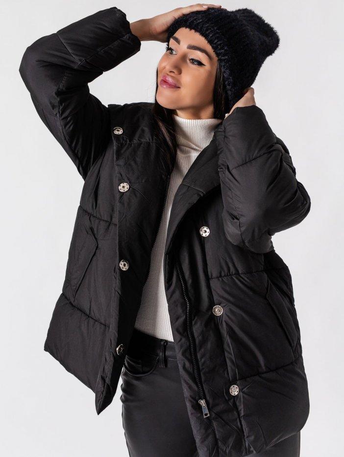 Čierna bunda s kapucňou