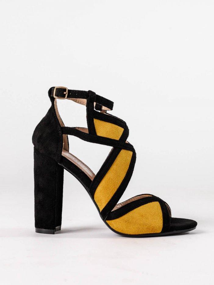 Čierno-žlté sandále Tina