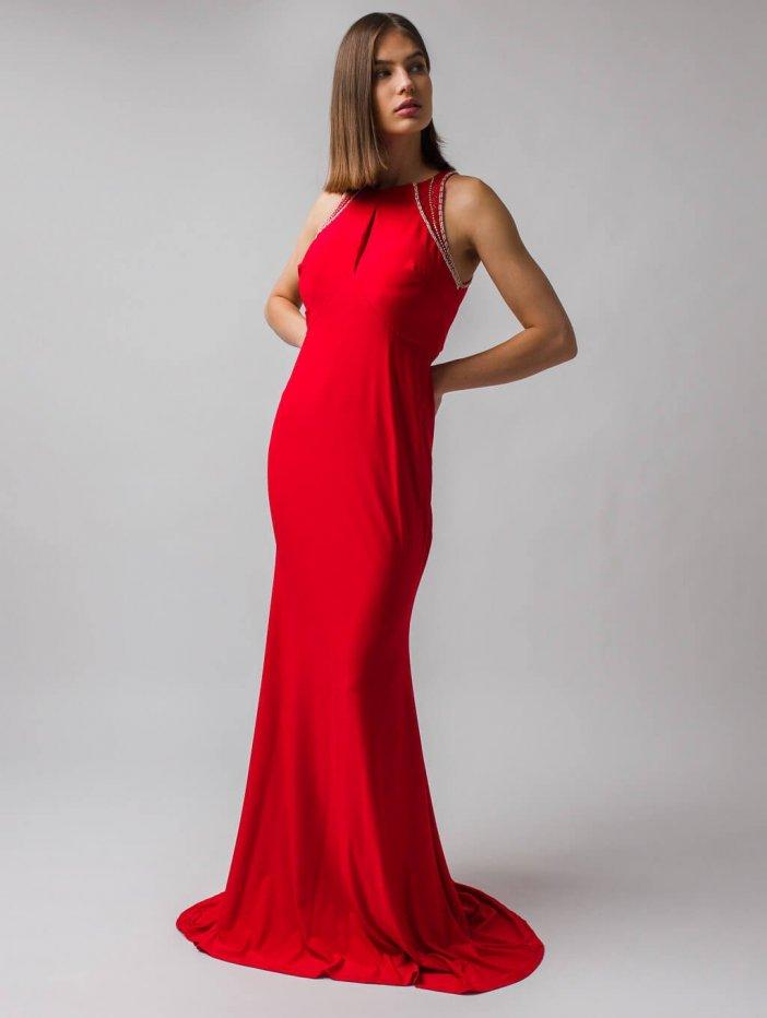 Červené dlhé spoločenské šaty Kelis