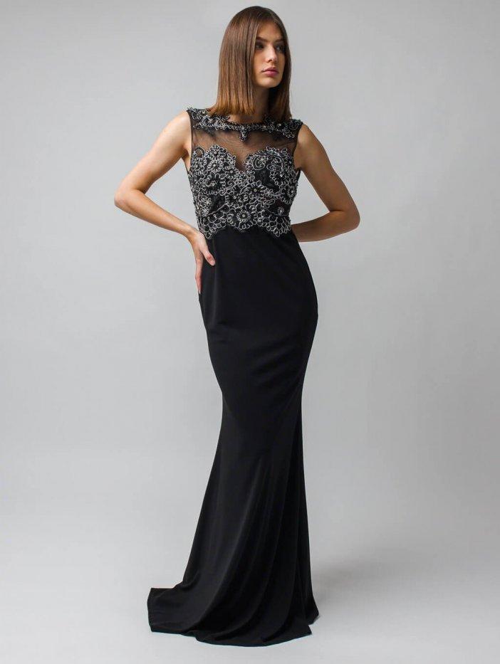 Čierne dlhé spoločenské šaty s čipkovaným dekoltom