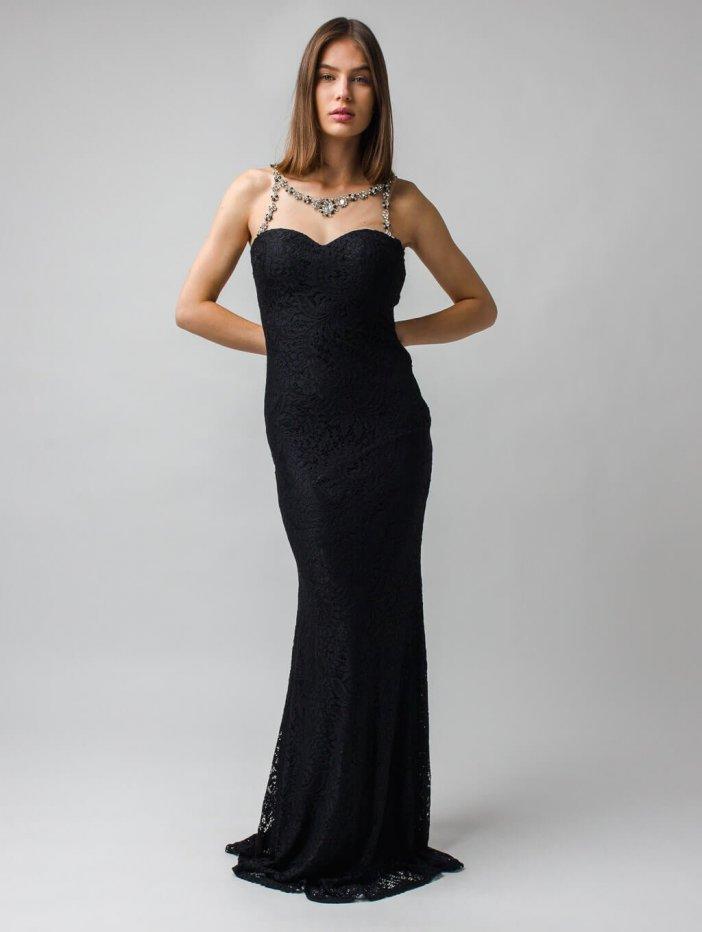 Čierne dlhé spoločenské šaty s odhaleným chrbátom Lina