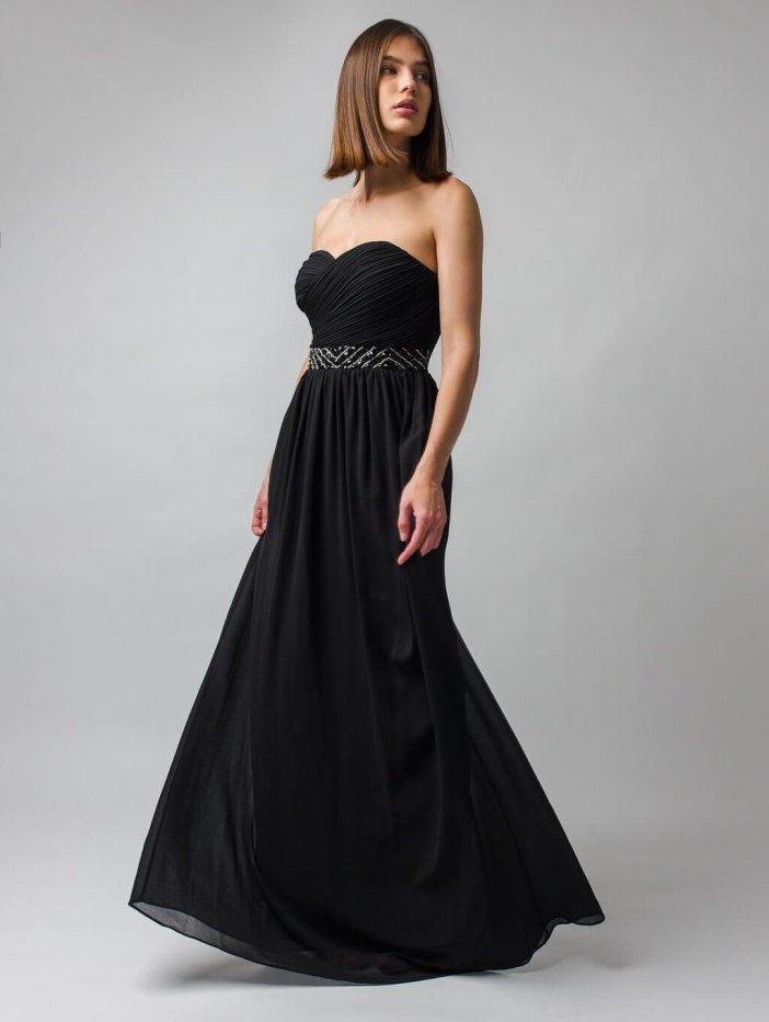 Čierne dlhé spoločenské šaty s odhalenými ramenami Leni