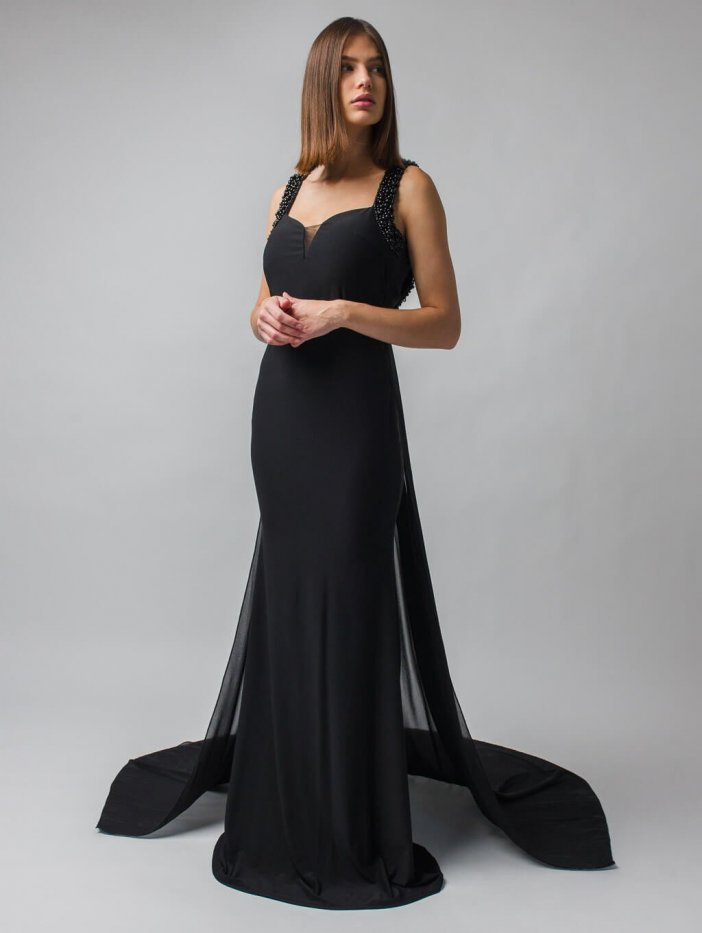 Čierne dlhé spoločenské šaty s vlečkou Solenne