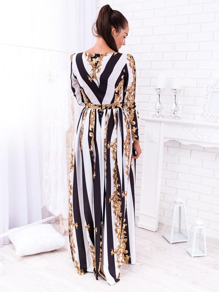 Čierno-biele pásikové dlhé spoločenské šaty so vzorom