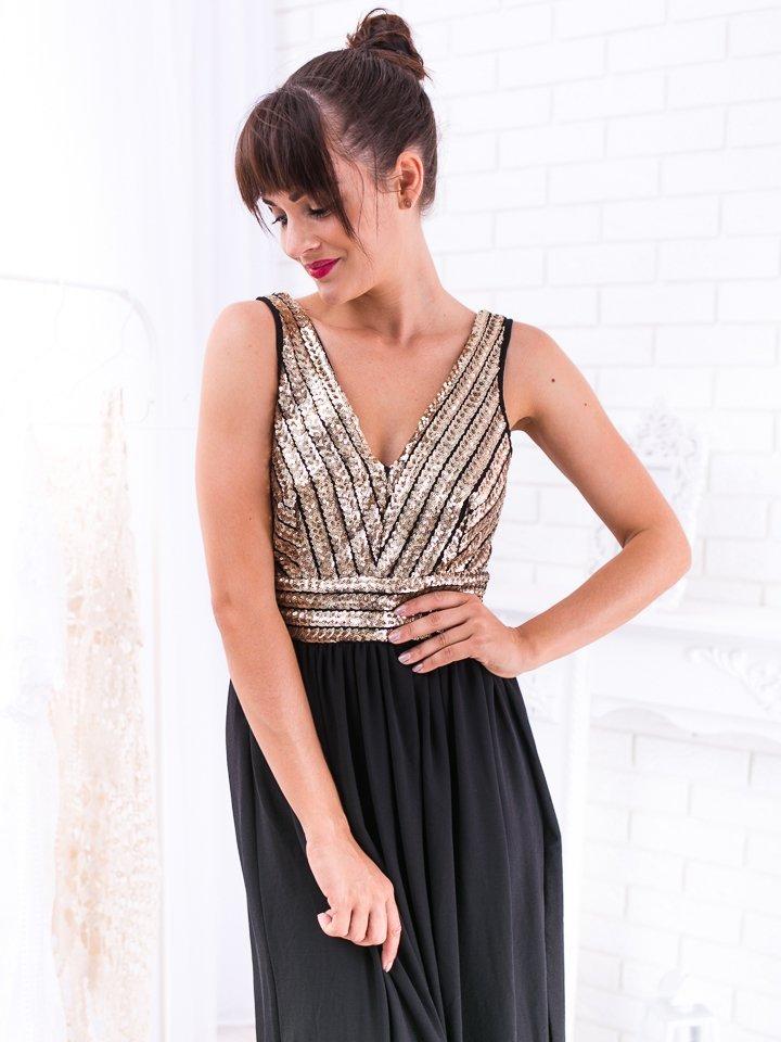 Čierno-zlaté dlhé spoločenské šaty s flitrami Vanessa