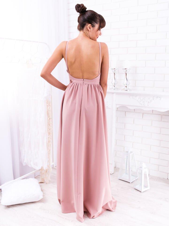 Béžové dlhé spoločenské šaty Megan