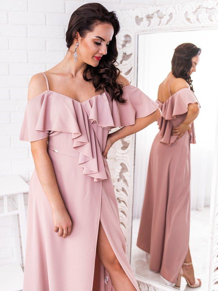 Béžové dlhé spoločenské šaty s volánmi Elisie