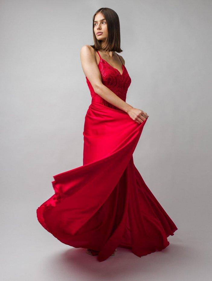 Červené dlhé spoločenské šaty Bella