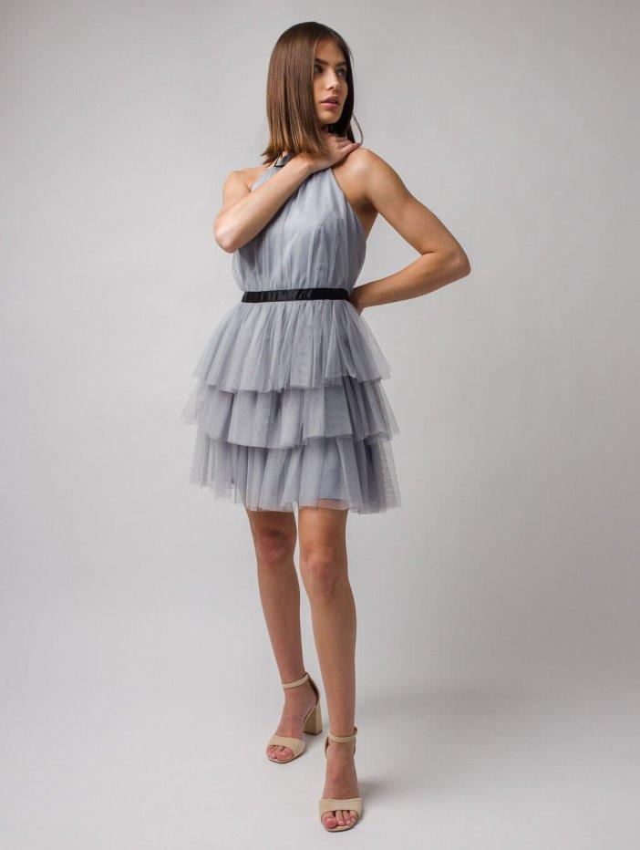 Sivé krátke tylové šaty Nadia