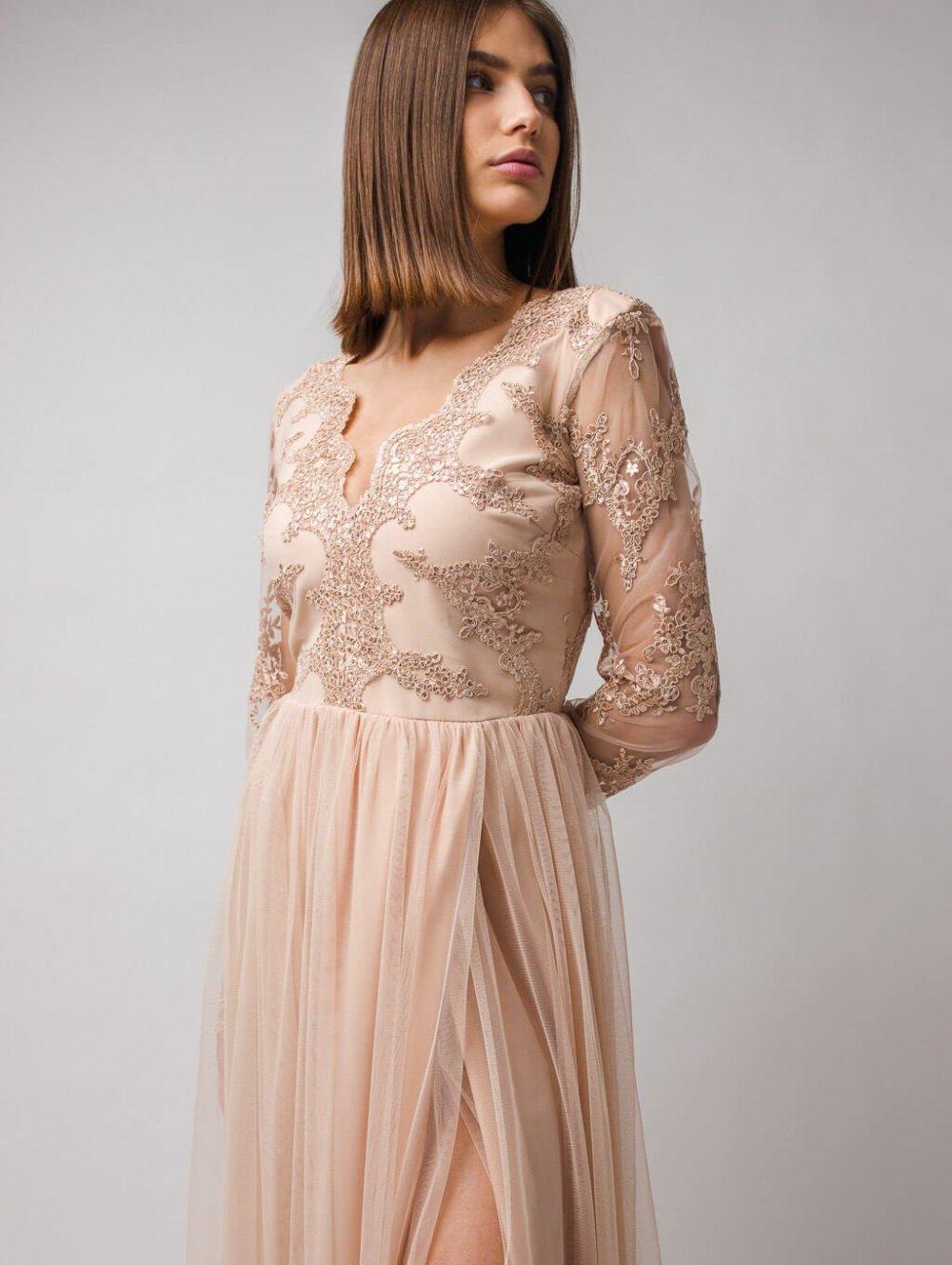 Béžové dlhé spoločenské šaty Adel