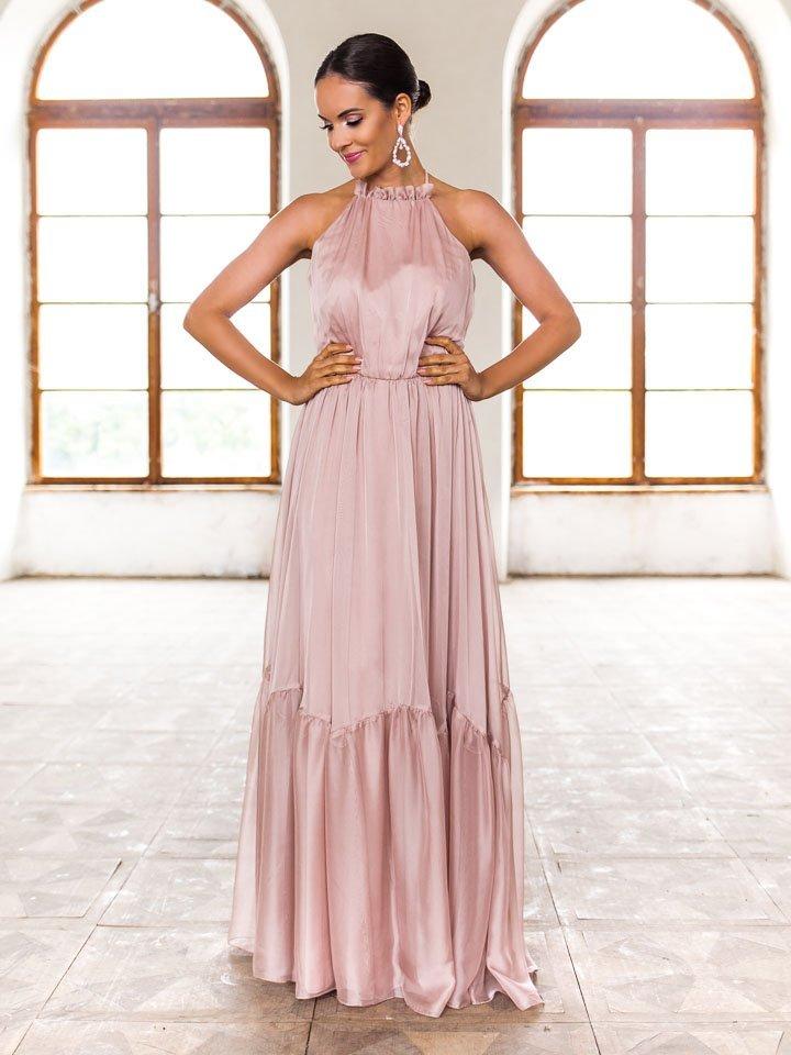 Béžové dlhé spoločenské šaty Karina