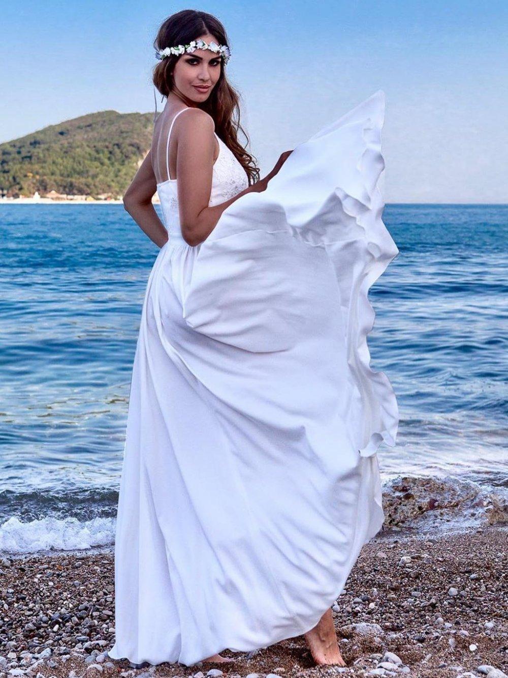 Biele dlhé spoločenské šaty Bella