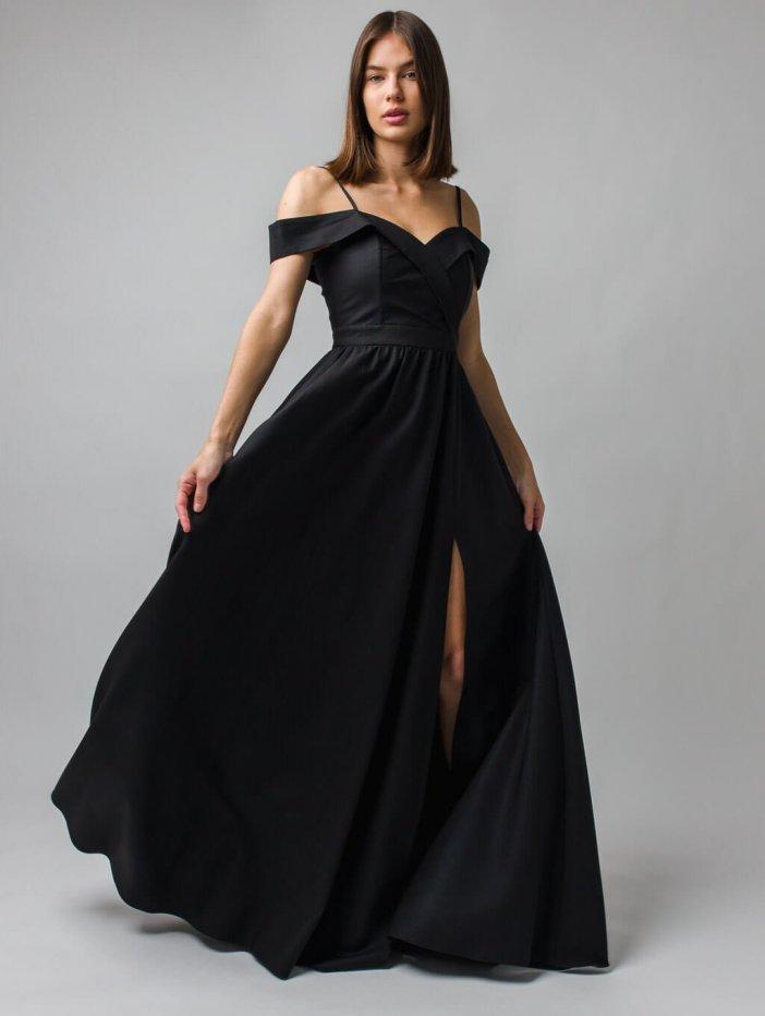 Čierne dlhé spoločenské šaty Elisabeth