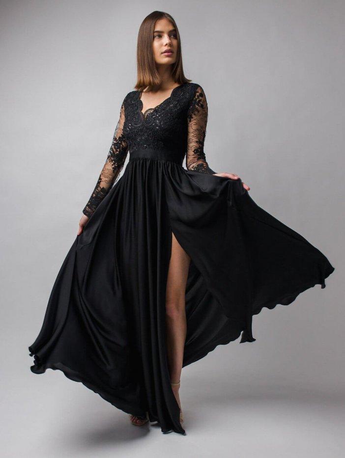 Čierne dlhé spoločenské šaty s čipkou s dlhým rukávom Luna
