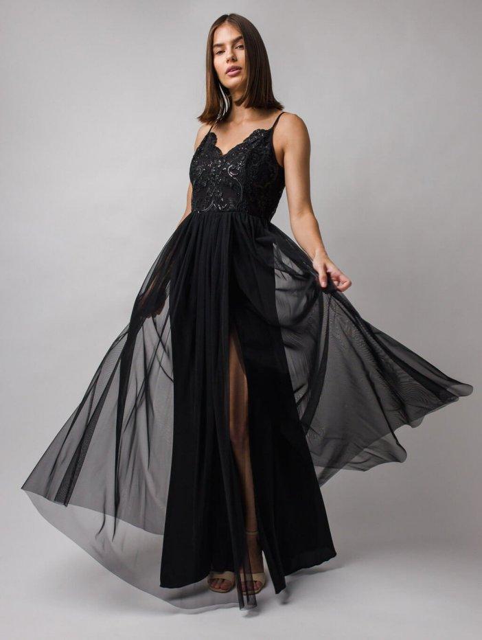 Čierne dlhé spoločenské šaty Stella