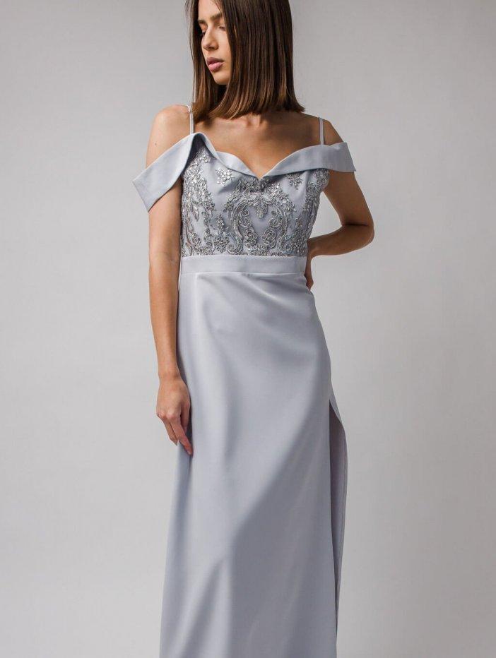Sivé dlhé spoločenské šaty Amanda