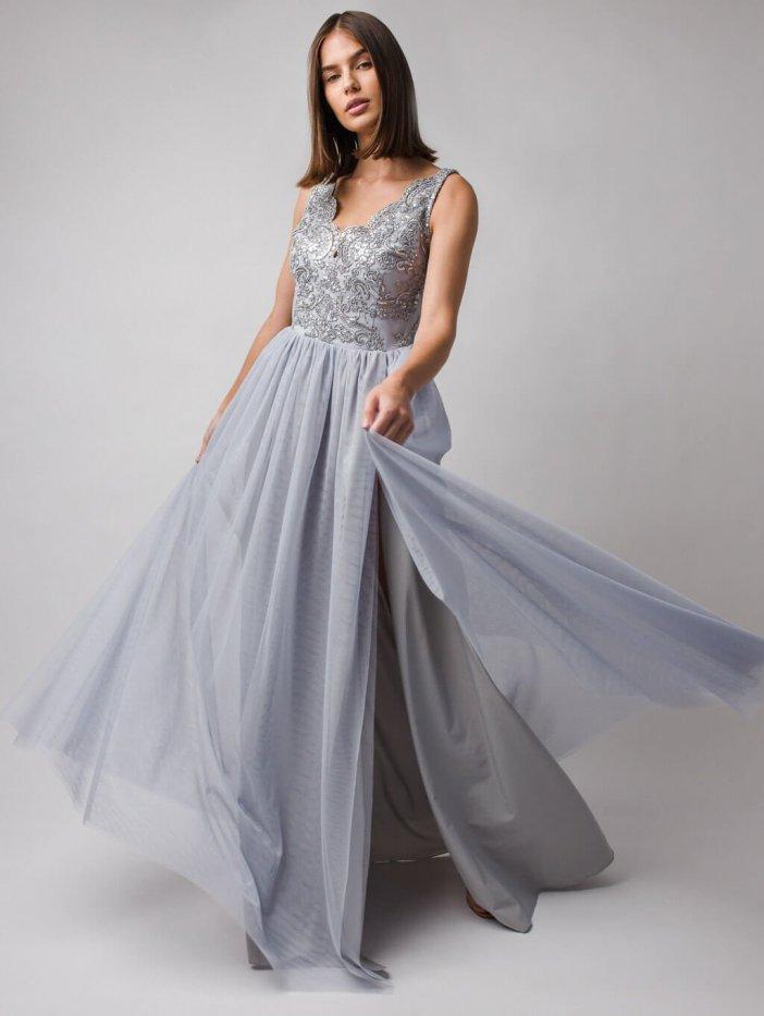 Sivé dlhé spoločenské šaty Chiara