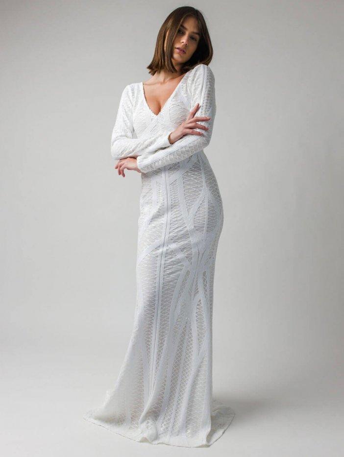 Biele dlhé spoločenské šaty Sinsay