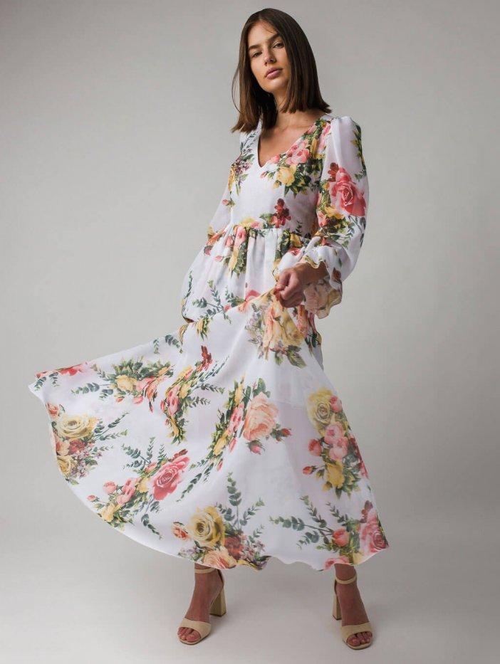 Biele kvetované spoločenské šaty Oliwia