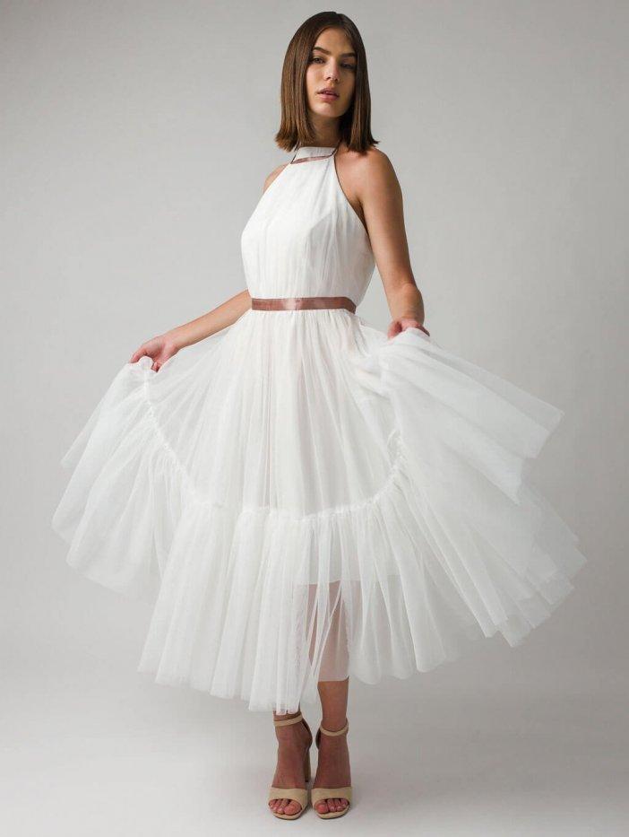 Biele tylové spoločenské šaty Lara