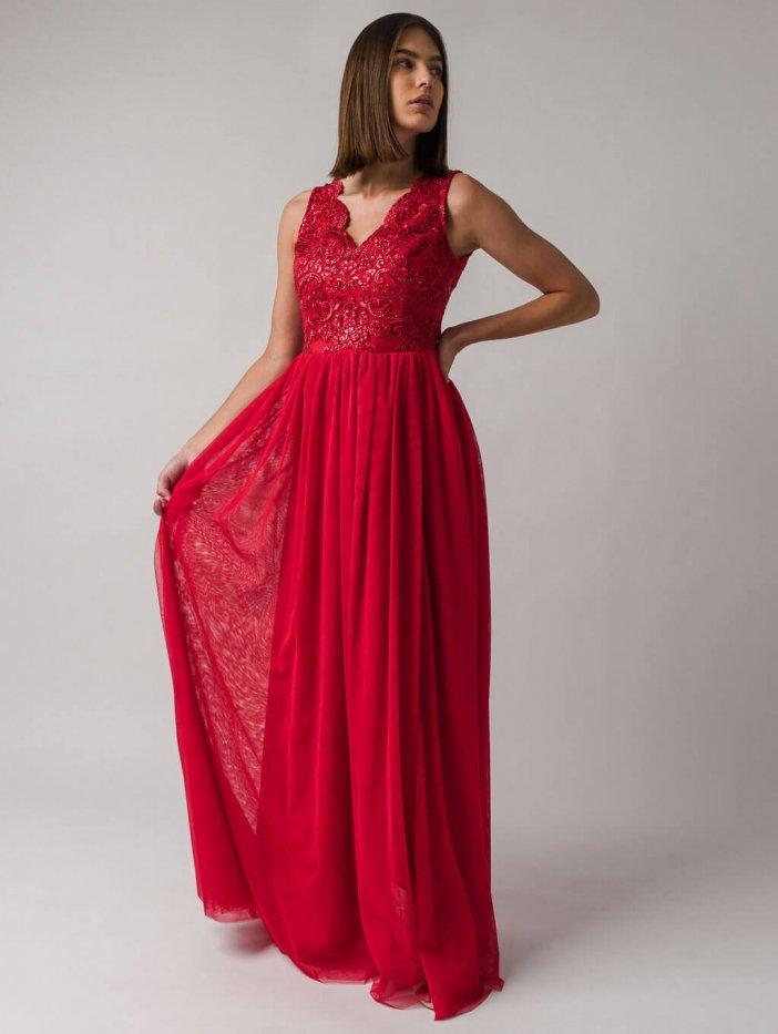 Červené dlhé spoločenské šaty Chiara
