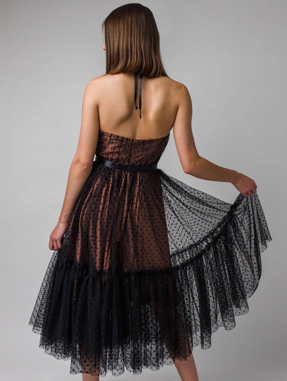 Čierne bodkované spoločenské šaty Lara