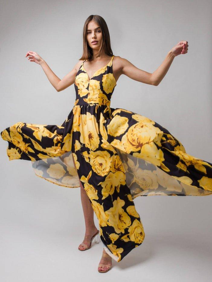 Čierno-žlté kvetované spoločenské šaty Nina