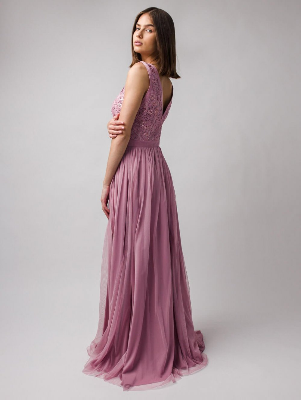 Staroružové dlhé spoločenské šaty Charlotte