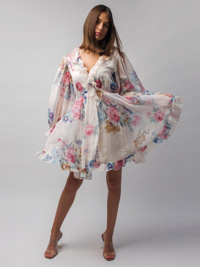 Béžové kvetované šaty Lillie