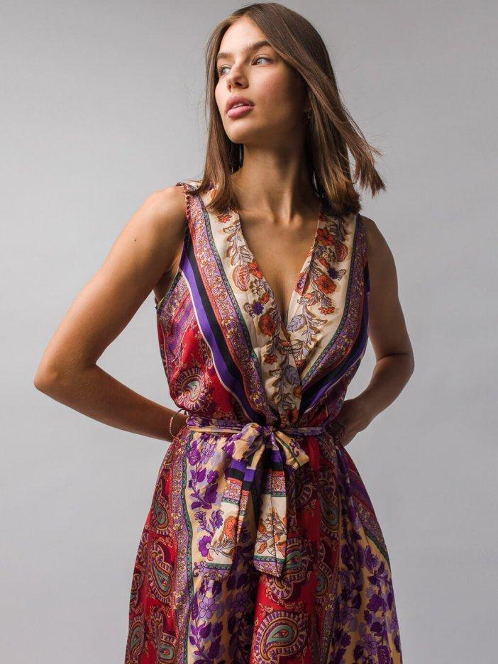 Tehlové vzorované šaty Tivna