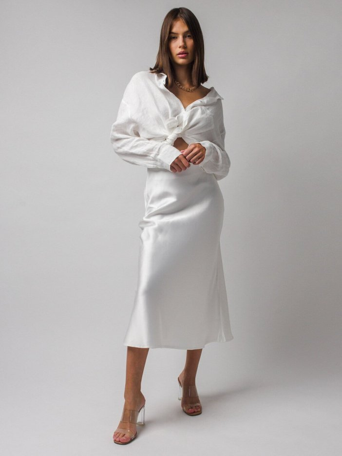 Biela sukňa Silk