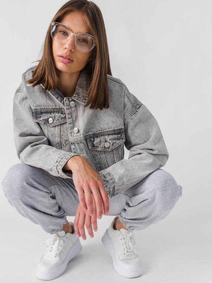 Sivá rifľová bunda Collen