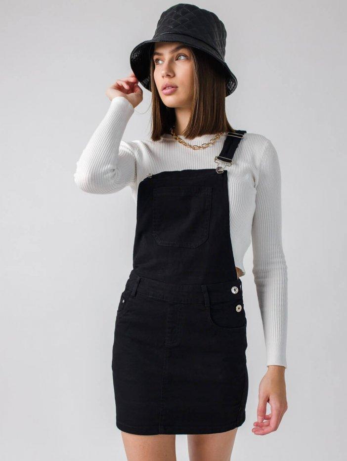 Čierna sukňa na traky Levin