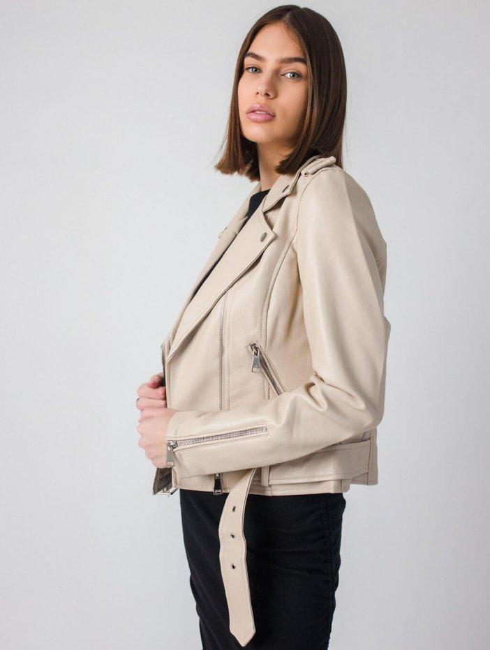 Béžová kožená bunda Jessamyn