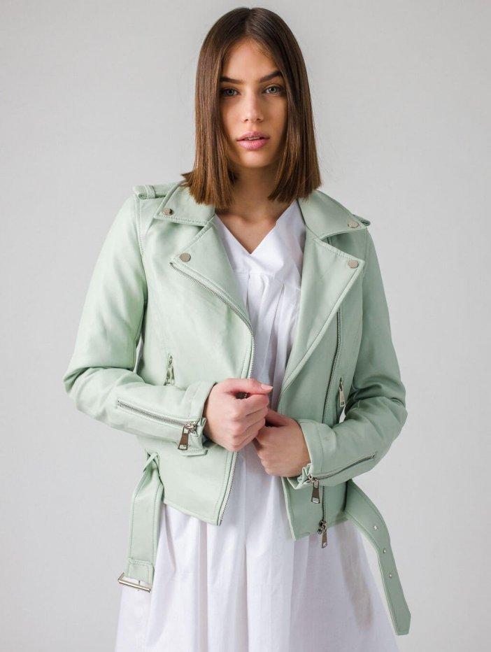 Bledozelená kožená bunda Jessamyn