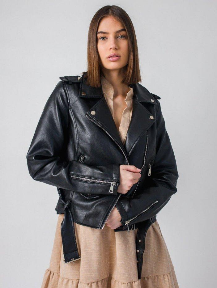 Čierna kožená bunda Jessamyn