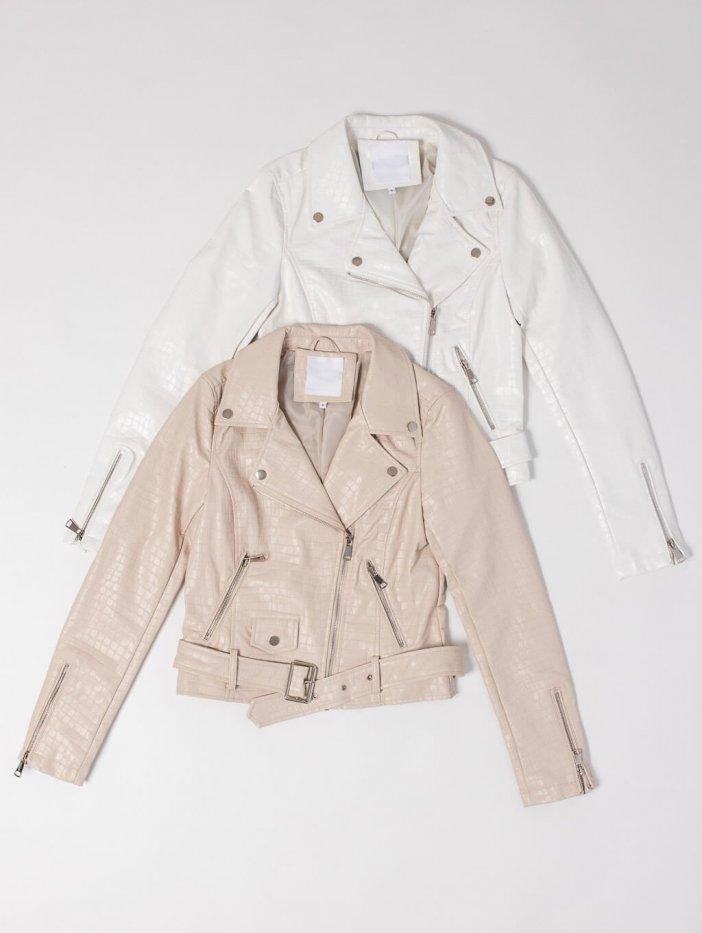 Béžová kožená bunda Ziwa